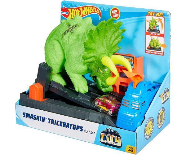 Hot Wheels City Smashin' Triceratops Playset
