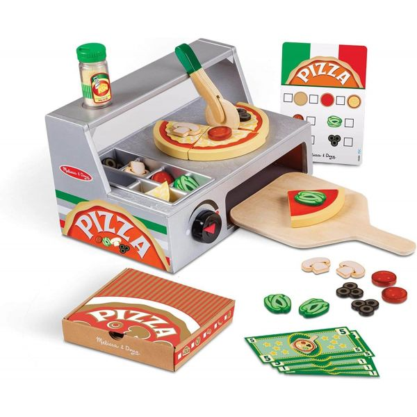 Melissa & Doug Top and Bake Pizza Counter Wooden Playset