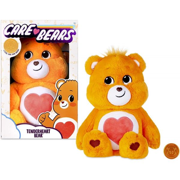 "Care Bear 14"" Tenderheart Bear Plush and Care Coin"