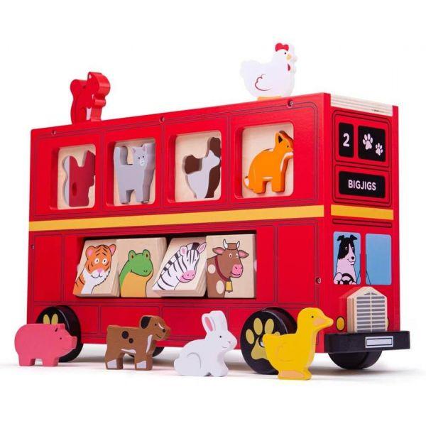 Bigjigs Red Wooden Bus Sorter