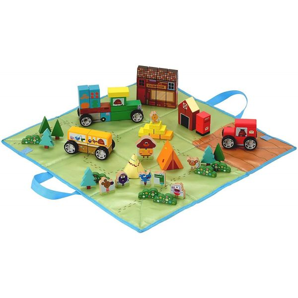 Hey Duggee Wooden Vehicle Block Set with Fold Up Storage Bag