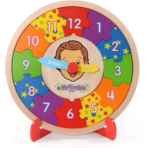 Mr Tumble Wooden Puzzle Clock with Stand